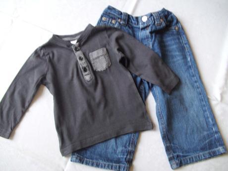 Rifličky + tričko s dl. rukávem - vel. 80,
