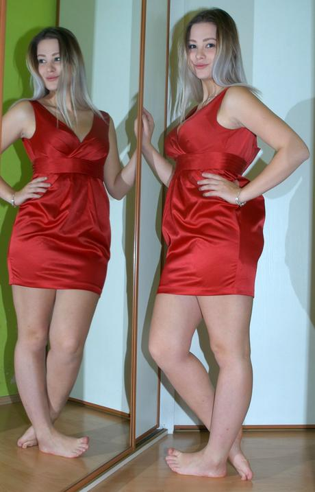 Společenské krátké tmavě červené šaty, new look,36