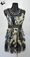 Černo-šedé šaty s korálky vel 36, 36