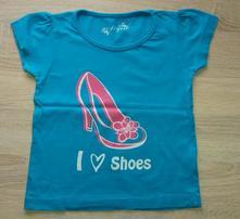 Tyrkysové bavlněné tričko vel. 122, girl2girl,122