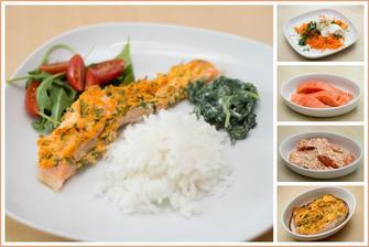 Pečený losos s mrkví a smetanou, rýže a smetanový špenát
