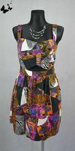 Barevné veselé letní šaty vel 44-46, 44