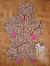 Leopardí fleesový overal, 140