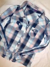 Luxusní vzdušná káro košile - růžovotyrkysová, 140