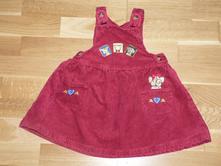 Červené manžestrové šaty 98, 98