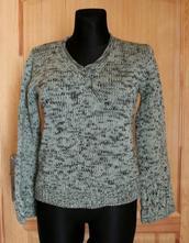 Zelený pletený svetr vel 38, s