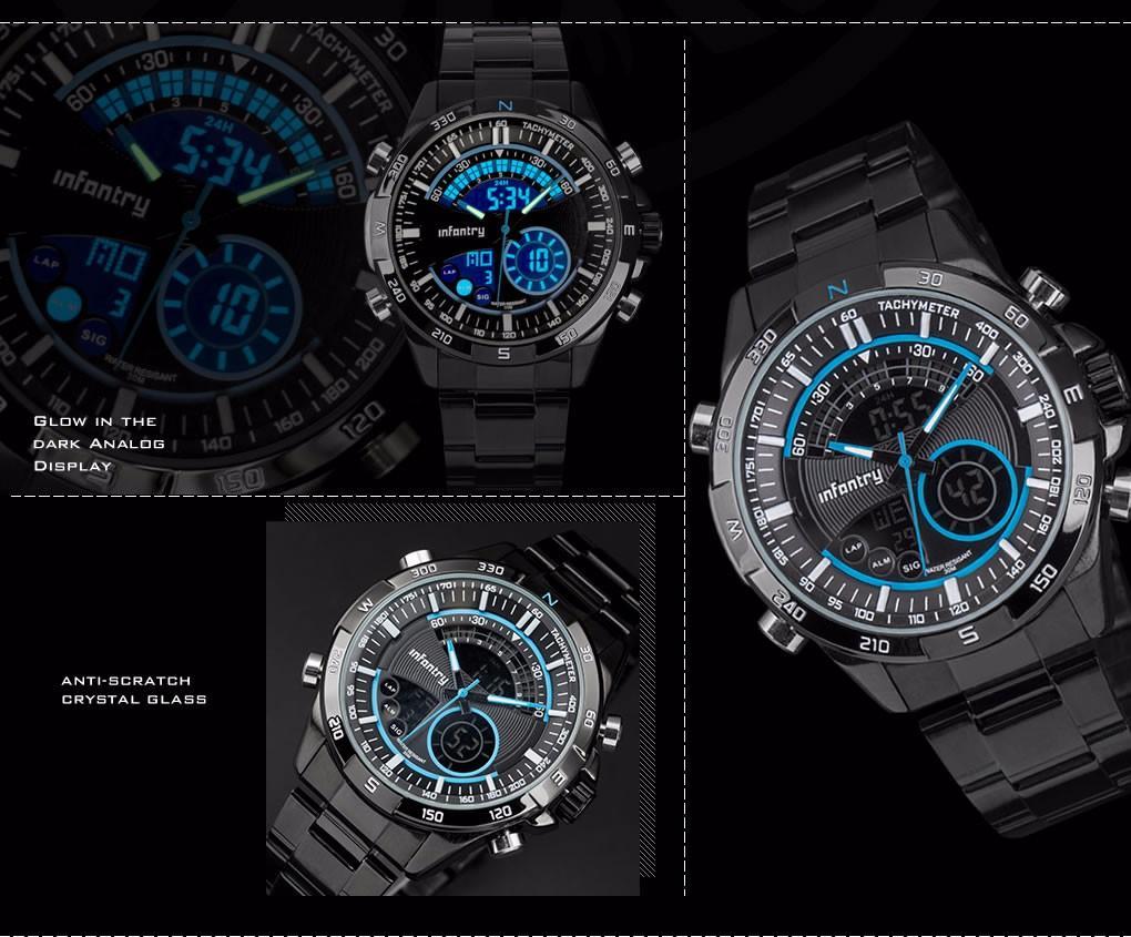Značkové pánské luxusní hodinky infantry blue 0030709924
