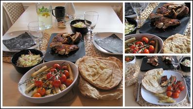 Plněné kyperské kuře, chřest s rajčátky, zelný salát, ochucený plochý chléb, nápoj sv. Klementa, vanilková zmrzlina v lázni - menu podle Jamieho Olivera