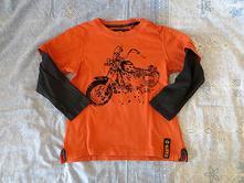 Cihlově oranžové tričko next s motorkou v. 116-122, next,116