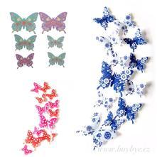 3d dekorace na zeď motýli barevní 12ks,