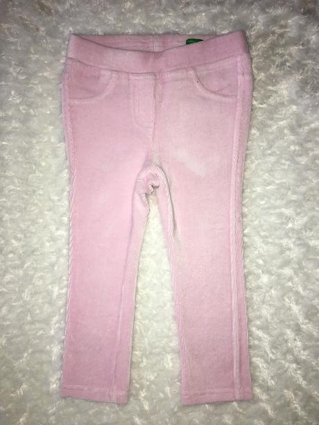 Růžové sametové skinny kalhoty benetton, benetton,92