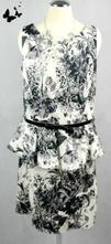 Černo-bílé peplum šaty vel 42, 42