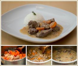 Guláš z krůtího masa, rýže