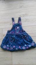 Džínové riflové šaty šatičky f&f v. 86 s vyšíváním, f&f,86