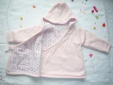 Luxusní růžový vyteplený svetr, zavinovací, 74
