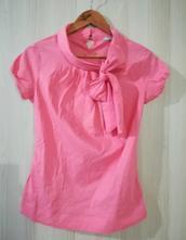 Růžové tričko/top s vázačkou, orsay,s
