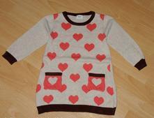 Bavlněný prodloužený svetr se srdíčky, f&f,92