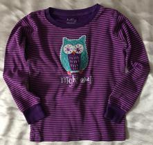 Vel. 110 fialové pyžamové triko se sovou, 110