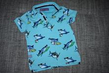 Tyrkysové polo triko next se žraloky, 104, next,104