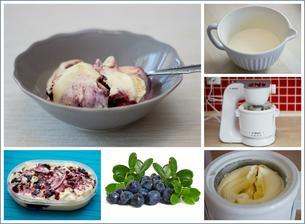 Smetanová zmrzlina s borůvkami