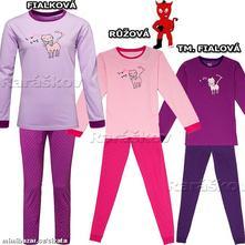 Dívčí bavlněné pyžamo s kočkou, wolf, vel 134-164, wolf,134 / 140 / 146