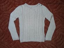 Bílý smetanový teplý pletený svetr svetřík h&m, h&m,122