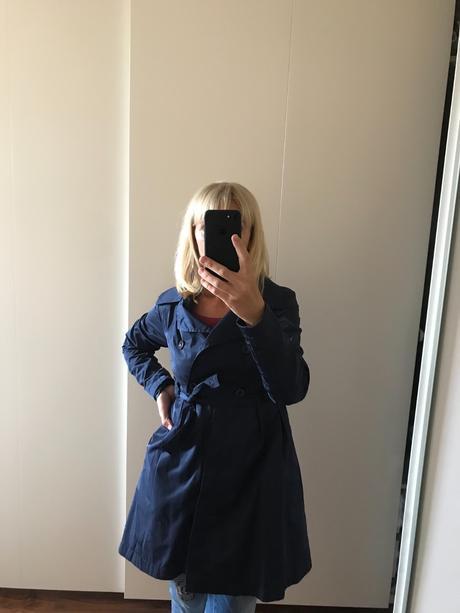 Kabát barvy navy,vel 34, xs
