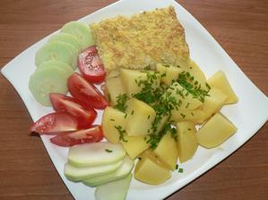 OBĚD: květákový nákyp (květák, žloutky, sníh z bílků, trocha ovesných vloček), vařen brambor, zelenina