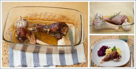 Krůtí stehna pečená s česnekem a rozmarýnem, šťouchané brambory, zelný salát