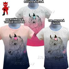 Krásné bavlněné triko pro holky s koněm, v.116-146, kugo,116 - 146