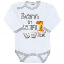 Body s potiskem new baby born in 2019 šedo-bílé, 56 - 86
