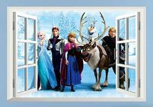 Samonalepovací dekorace ledové království - okno 1,