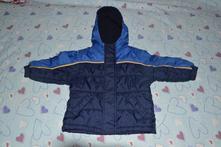 Zimní / podzimní bunda, modrá s žlutou pružkou, mothercare,98