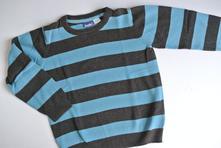 Pruhovaný svetr tyrkys-antracit, lupilu,116