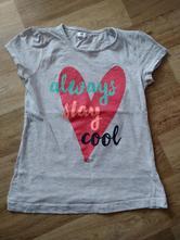 Šedé tričko s červeným srdcem, pepco,128