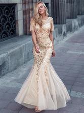 Zlaté šaty s krátkým rukávem vel 40-42, ever-pretty,40 / 42