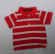 Triko s límečkem červené pruhy krátký rukáv , 74