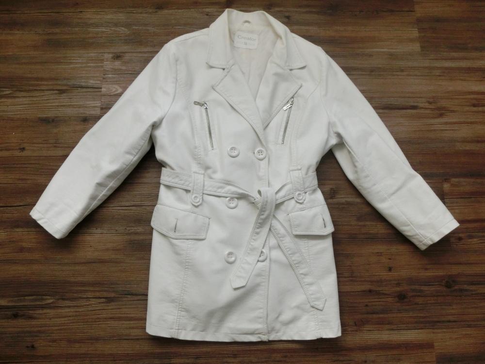 Bílý koženkový podzimní jarní kabát trenčkot xl ad69119886