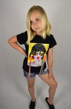 Černé dívčí tričko s aplikací, 98 - 164