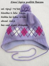Zimní čepice podšitá fleecem, 80