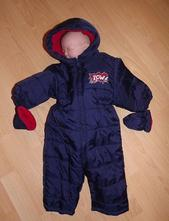 Tmavě modrá zimní kombinéza s kapucí a rukavicemi, c&a,68