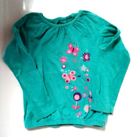 P55 - zelené tričko s kytičkami, 98