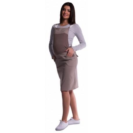 86987efce88 Těhotenské šaty sukně s láclem - cappucino