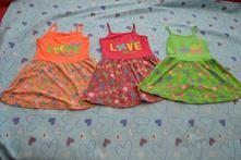 Letní šaty zástěrka do školky pro trojčata, 122
