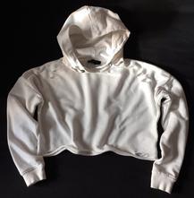 Vel. 146 bílá krátká mikina s kapucí, 146