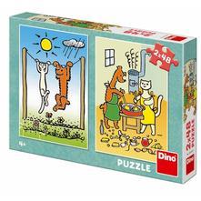 Puzzle pejsek a kočička 2x48 dílků,