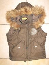 Krátka zateplená vesta s kapucňou, 164