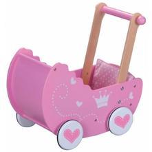 Dřevěný kočárek pro panenky - růžový,