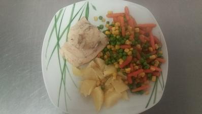 Obed:Rybi file,dusena zelenina,brambory