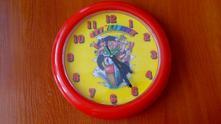 Dětské nástěnné hodiny - čtyřlístek 3d - červené,